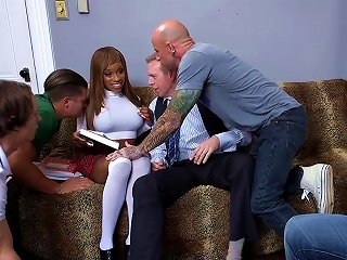 Schoolgirl Gangbang Virgin Pounded By Thick Professor Cock!