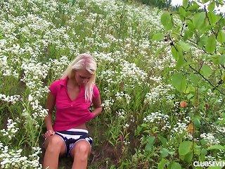 School Girl Sara J Masturbating In The Field Outdoor