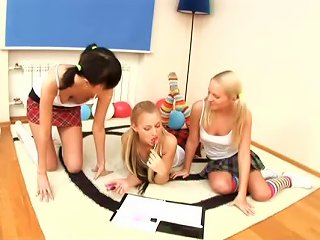 No Cocks And Only Toys In Hot Lesbian Threesome With Teen School Girls
