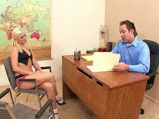 Blonde Schoolgirl Jayden Pierson In On Her Knees Pleasuring A Boner