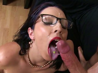 School Teacher Milf Gets Cum On Face And Glasses